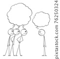 Three Men Looking Angrily or Angry at One Man. Empty Thought Bubbles. Vector Cartoon Stick Figure Illustration 76250324