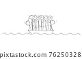 Big Group of People or Businessmen Standing Helplessly on Small Lifeboat. Vector Cartoon Stick Figure Illustration 76250328