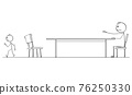 Man Leaving Negotiation or Interview. Difference and Barrier. Vector Cartoon Stick Figure Illustration 76250330
