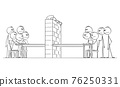 Negotiation Barrier, Two Groups of Politician or Businessmen Sitting at Table, Vector Cartoon Stick Figure Illustration 76250331