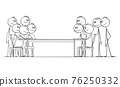 Two Group of People or Businessmen or Politicians Negotiating, Vector Cartoon Stick Figure Illustration 76250332