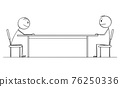 Two Men or Businessmen Sitting at Table, Job Interview or Business Negotiation. Vector Cartoon Stick Figure Illustration 76250336