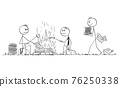 Group of Office Workers or Businessmen Roasting Sausages on Campfire, Burning Papers , Vector Cartoon Stick Figure Illustration 76250338