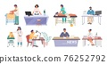 People of different occupations and professions, workers cartoon characters at workplace, flat vector illustration. 76252792