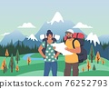 Happy tourist couple with backpacks looking at map, flat vector illustration. Summer tourism, hiking, trekking. 76252793