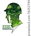 Stop rainforest deforestation poster, banner template. Vector paper cut green jungle plants, animals inside of man head. 76252794