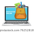 Laptop computer with backpack full of school supplies, vector illustration. Online education, distance learning. 76252818