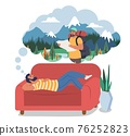 Man dreaming about travel, hiking, trekking lying on sofa, flat vector illustration. Summer vacation, travel planning 76252823