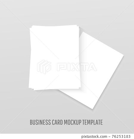 White blank business cards mockup realistic template mockup with shadows on grey background 76253183