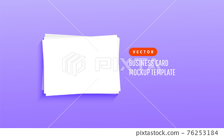 Trendy paper white blank, business cards for mock up presentation on lilac background. Vector illustration for your design 76253184
