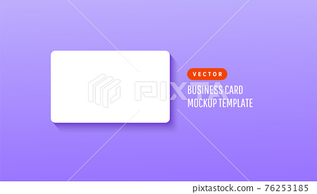 Horizontal one white business card on a bright lilac background.Template for branding identity 76253185