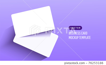 Two paper empty credit or gift cards with shadow on lilac background. Modern and stylish greeting card. Vector illustration 76253186