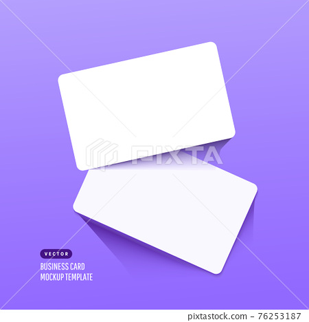 Two paper empty credit or gift cards with shadow isolated on lilac background. Modern and stylish greeting card 76253187