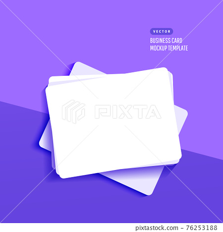 Mockup realistic credit, visit,gift card with shadow isolated on lilac background. Template for branding identity 76253188