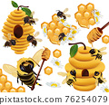 Honey bee, honeycomb, beehive, honey dipper, beeswax, Chamomile flower on white background. 3d Vector illustration 76254079