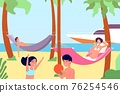 People in hammocks. Outdoor rest, beach relaxation in hammock. Happy family summer vacation, travel or ocean holiday vector illustration 76254546