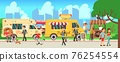 Street food market. People walking city park, cartoon fast food trucks and tents. Man woman eating, skateboarding shopping drink coffee. Outdoor entertainment vector illustration 76254554