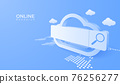 3D digital cloud computing technology background. Online searching service with magnifier. vector art illustration 76256277