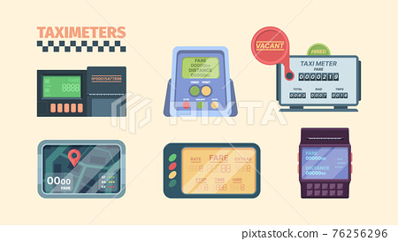 Taximeter. Display in car with speeding detection for cash money auto transportation meter for vehicle services garish vector collection 76256296