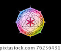 Flower of Life symbol Sacred Geometry. Colorful gradient Lotus round Logo icon Geometric mystic mandala of alchemy esoteric Seed of life. Vector divine meditative amulet isolated on black background 76256431