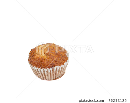 Banana cup cake, a close up of tasty homemade small brown cupcake bakery isolated on white background. 76258126