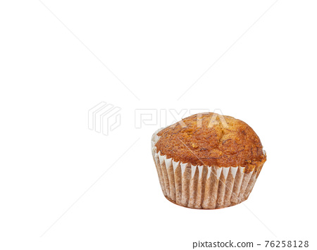 Banana cup cake, a close up of tasty homemade small brown cupcake bakery isolated on white background. 76258128