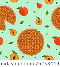 Seamless pattern peach pie. 76258449