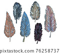 Collection of hand drawn watercolor feathers 76258737