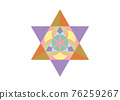 Flower of Life symbol Metatron Merkaba Sacred Geometry. Colorful logo icon. Geometric mystic star of alchemy esoteric Seed of life. Vector tattoo divine meditative amulet isolated on white background 76259267