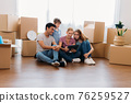 Family watching furniture in digital tablet 76259527