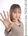 Young caucasian woman with stop gesture over white 76261819