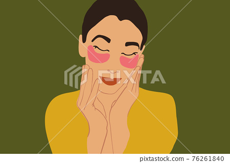 Pretty woman making beauty routine with face 76261840