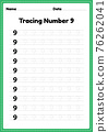 Tracing number 9 worksheet for kindergarten and preschool kids for educational handwriting practice in a printable page. 76262041