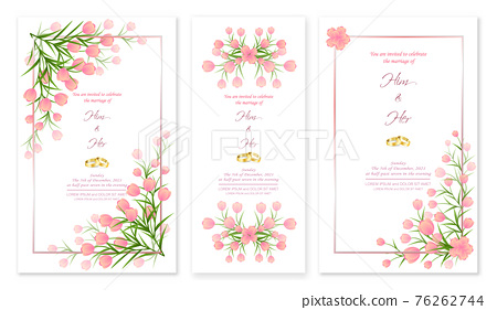 Wedding Invitation Card with flowers elements are isolated and editable. 76262744