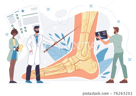 Flat cartoon doctor characters at work vector illustration concept 76263201