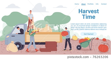 Flat cartoon characters harvesting, vector landing page concept 76263206