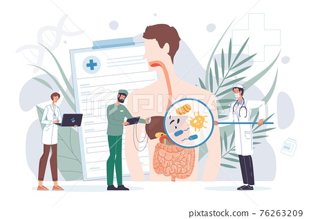Flat cartoon doctor characters at work vector illustration concept 76263209
