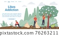 Flat cartoon characters harvest social symbols,vector landing page concept 76263211