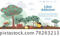 Flat cartoon farmers garden with social symbols,vector landing page concept 76263213
