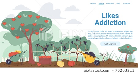 Flat cartoon farmers garden with social symbols,vector landing page concept 76263213
