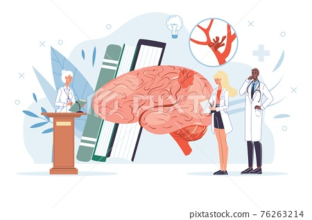 Flat cartoon doctor characters at work vector illustration concept 76263214