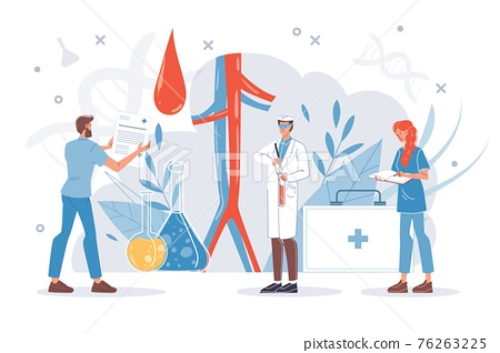 Flat cartoon doctor characters at work vector illustration concept 76263225