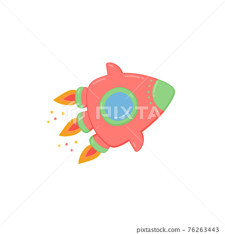 Colorful cartoon space rocket flat vector illustration isolated on white. 76263443