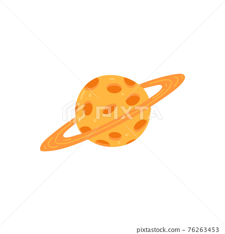 Saturn planet with craters and gas rings, flat vector illustration isolated. 76263453