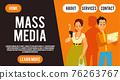 Social media website banner, cartoon people using technology 76263767