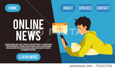 Male reading and watching world news using mobile phone a landing page template. 76263768