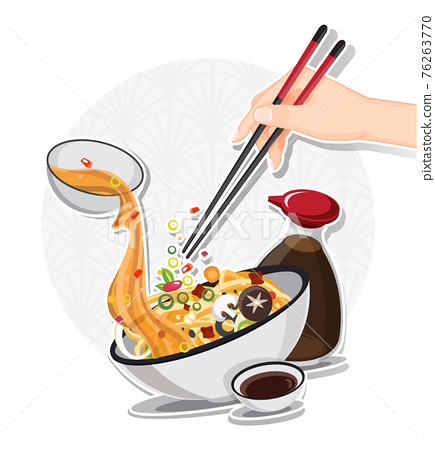 Asian Noodle Soup in Bowl, Asian Food, Vector illustration 76263770