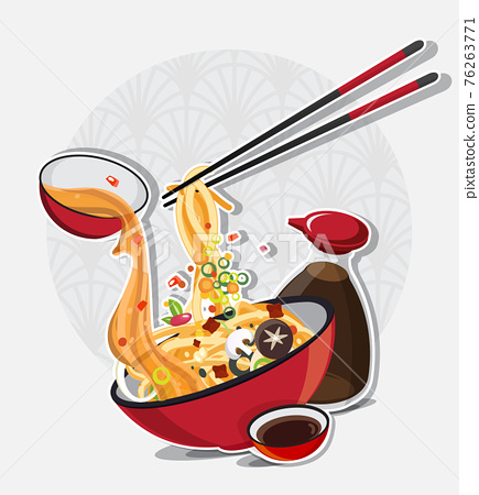 Asian Noodle Soup in Bowl, Asian Food, Vector illustration 76263771