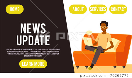 Young man reading world online news, video mass media or information apps in web 76263773