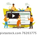 Online news and internet media sources banner flat vector illustration isolated. 76263775